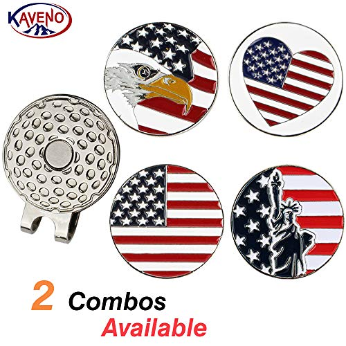 kaveno Magnetic Golf Hat Clip with 4 Different Pattern Golf Ball Markers (Set 1)