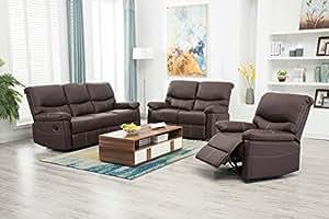 Amazon.com: BestMassage reclinable conjunto de sofás 3 ...