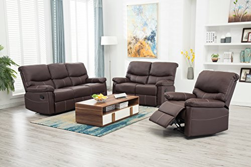 BestMassage Recliner Sofa Set 3PCS Motion loveseat Living Room sectional Reclining,Sofa Leather (Set Sofa Loveseat Recliner Chair)