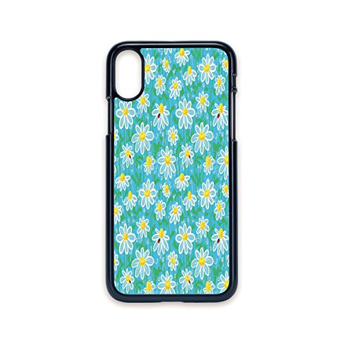 Meadow Rim - Phone Case Compatible with iPhone X 2D Print Black Edge,Yellow and Blue,Meadow Art Pattern with Ladybirds and Chamomile Daisy Blossoms,Aqua White Marigold,Hard Plastic Phone Case