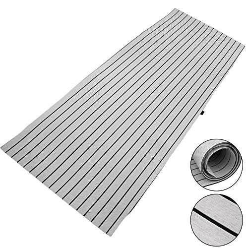 Happybuy Boat Decking Sheet 94.5 X 35.4 Inch 6MM Thick Non-Skid EVA Foam Faux Teak Decking Self-Adhesive Marine Yacht RV Swimming Pool Garden Boat Flooring Sheet (Grey with Black Seam, 94.5