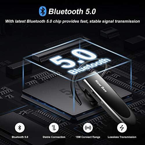 New bee Main Libre Bluetooth Oreillette, Casque sans Fil Bluetooth avec Microphone 60 Jours en Veille Casque Mains Libres avec Microphone Casque pour iPhone Samsung, HTC, LG, Sony, PC (Noir)