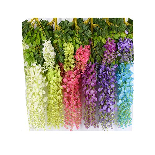 Aimyoo 12 Piece 3.6 Feet Romantic Classic Artificial Fake Wisteria Vine Ratta Silk Hanging Flower for Home Party Wedding Decor (Multicolored) (Multicolor) (Forest Flowers Large)