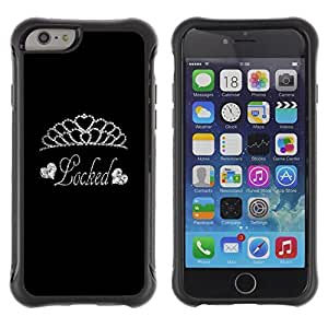 KROKK CASE Apple Iphone 6 - heart tiara diamond locked silver glitter - Rugged Armor Slim Protection Case Cover Shell wangjiang maoyi