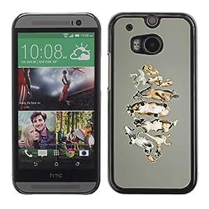 For HTC One M8 Case , Animals Drawing Farm Nature Cow - Diseño Patrón Teléfono Caso Cubierta Case Bumper Duro Protección Case Cover Funda