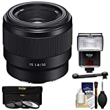 Sony Alpha E-Mount FE 50mm f/1.8 Lens with 3 Filters + Flash + Diffuser + Kit for A7, A7R, A7S Mark II Cameras