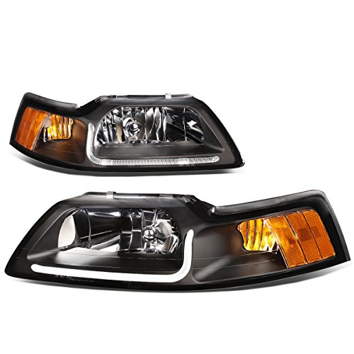 Pair Black Housing Clear Lens Amber Corner LED DRL Headlight For Ford Mustang (1999 Ford Mustang Gt Headlights)