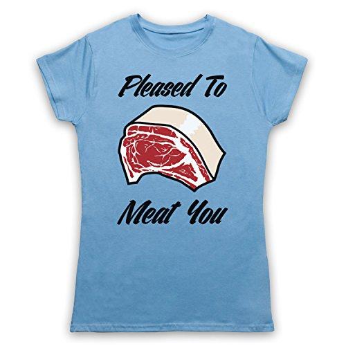 Pleased To Meat You Funny Slogan Camiseta para Mujer Azul Cielo