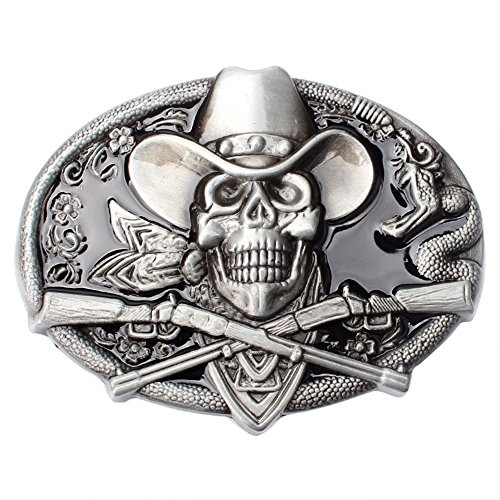 Buckles Accessories Skull Belt (CattleDevil Western Cowboy Novelty Belt Buckles for Men Women (skull M))