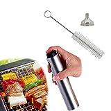 Oil Sprayers For Kitchen Utensils & Gadgets , Stainless Steel Vinegar Dispenser Bottle , 3 Piece Set (Pepper Bottle + funnel + Cleaning Brush) Portable Spray For Cooking , Barbecue , Salad  , Baking