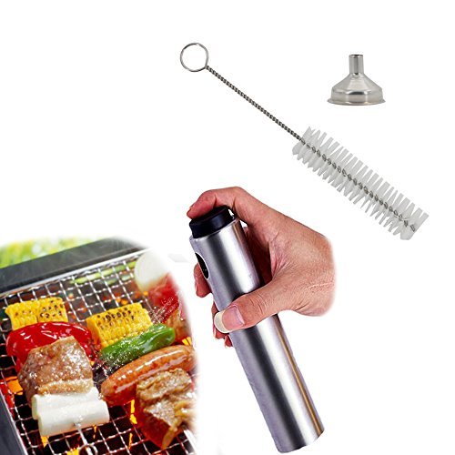 Cooking Spray Ingredients - Oil Sprayers For Kitchen Utensils & Gadgets , Stainless Steel Vinegar Dispenser Bottle , 3 Piece Set (Pepper Bottle + funnel + Cleaning Brush) Portable Spray For Cooking , Barbecue , Salad  , Baking