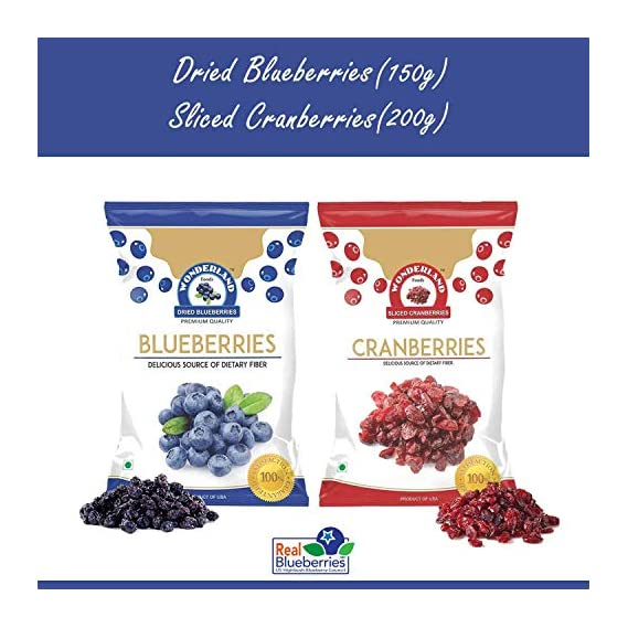 WONDERLAND FOODS (DEVICE) Sliced Berries Combo Pack Dried Cranberries 200 g and Blueberries 150 gm