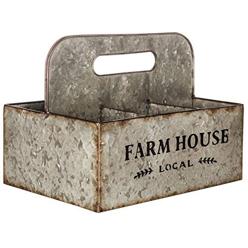 (Farmhouse Galvanized Metal Basket with Compartments)