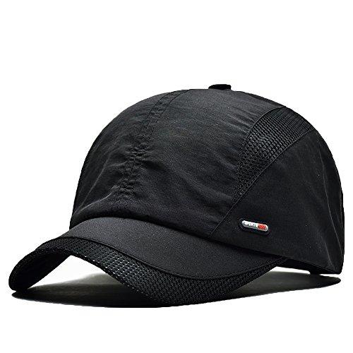 FayTop Unisex Quick Dry Baseball Sun Hat Sun Cap Outdoor Sports Baseball Caps E61B006-black (Fitted Hat Plain Baseball)