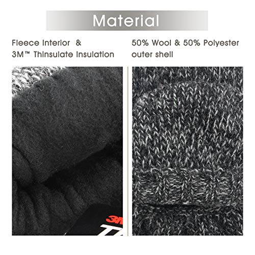 Gifts for Men Dad, Metog Suede Thinsulate Thermal Insulation Mittens Brown tweed L