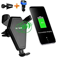 ZACTEK Wireless Charger Phone Holder Long Neck Fast Wireless Charger Car Mount Air Vent Phone Holder Charging for iPhone X iPhone 8/8 Plus, Galaxy Note 5/8, Samsung S8 S8+ S7 S6 Edge+