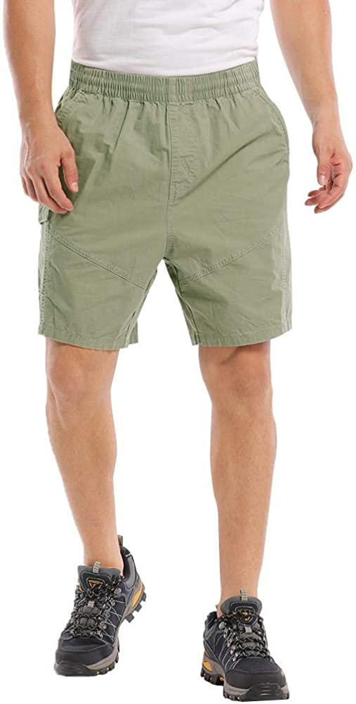 MUST WAY Men's Outdoor Casual Shorts Lightweight Comfy Shorts Elastic Waist Walk Cargo Short Flat-Front Chino Shorts 2018# ArmyGreen