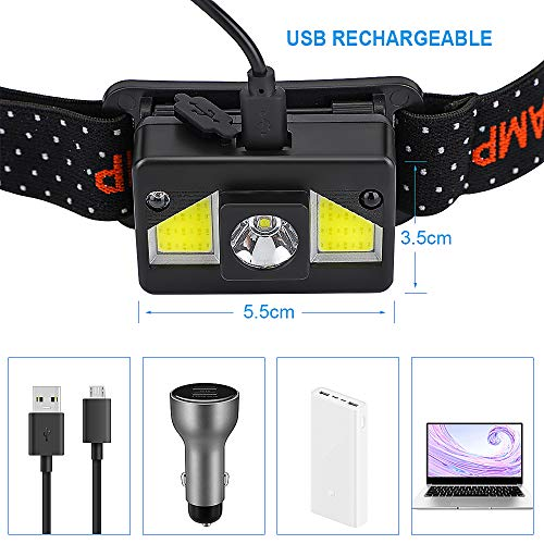 bedee LED Head Torch, [2 Pack] USB Rechargeable Headlamp, Super Bright 1000 Lumens COB LED Head Torch Rechargeable, 8 Lighting Modes, IPX5 Waterproof Headlight for Kids Adults Camping Running Fishing