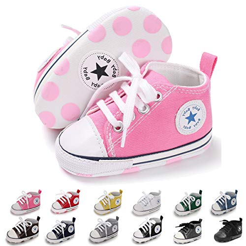 Baby Boys Girls Canvas Shoes Basic Sneakers Lace Up Infant First Walker Shoes(0-18 Months) (11cm(0-6 Months), A-Pink)