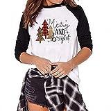 Dunacifa Christmas Women Long Sleeve Tops Patchwork Tree Print Pullover Blouse T-Shirts