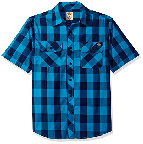 Dickies Men's Short Sleeve Buffalo Plaid Shirt, Blue Jay/Deep Blue, L