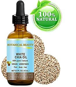 "WHITE CHIA OIL. 100% Pure/ Natural Cold Pressed Carrier Oil. 0.5 fl.oz-15 ml. For Skin, Hair, Lip and Nail Care. ""A remarkable and stable source of omega-3, 6 & 9, B-vitamins and minerals""."