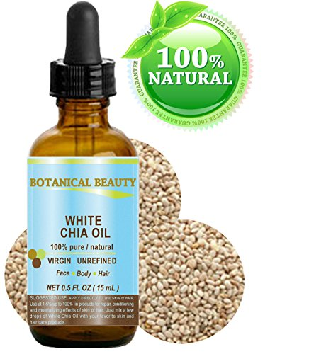 """WHITE CHIA OIL. 100% Pure/ Natural Cold Pressed Carrier Oil. 0.5 fl.oz-15 ml. For Skin, Hair, Lip and Nail Care. """"A remarkable and stable source of omega-3, 6 & 9, B-vitamins and minerals""""."""