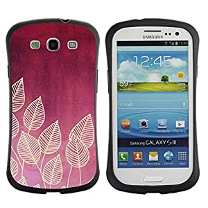 "Hypernova Slim Fit Dual Barniz Protector Caso Case Funda Para SAMSUNG Galaxy S3 III / i9300 / i747 [Ciruelo Rojo Carmesí Hojas Patrón Beige""]"