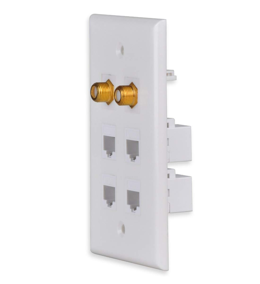 DCFun Ethernet Wall Plate RJ45 CAT6 Network Keystone Jack Inserts Female Connector for Wallplate Pack of 2