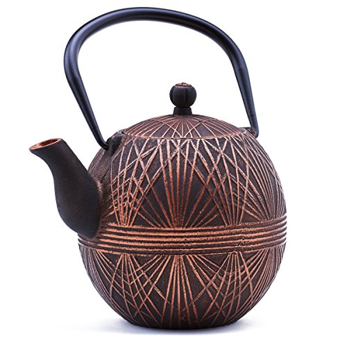 Old Dutch 1086CB Otaru Teapot Cast Iron Teapot, Antique Copper, Black