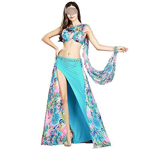 Belly Dance Costume Set 3 Colors Bra+Skirt+Waist Chain+Armbands Bellydance,Sky Blue,S]()