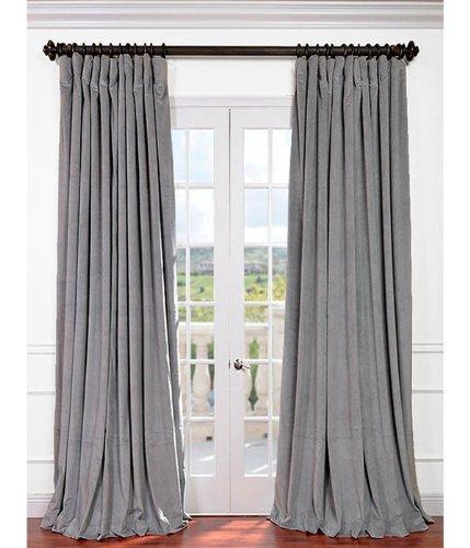 Half Price Drapes VPCH Signature Doublewide Blackout Velvet Curtain, Silver Grey