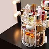 diy countertop spice rack Fannel 360 Rotating Makeup Organizer, DIY Adjustable Makeup Carousel Spinning Holder Storage Rack, Large Capacity Make up Caddy Shelf Cosmetics Organizer Box, Best for Countertop