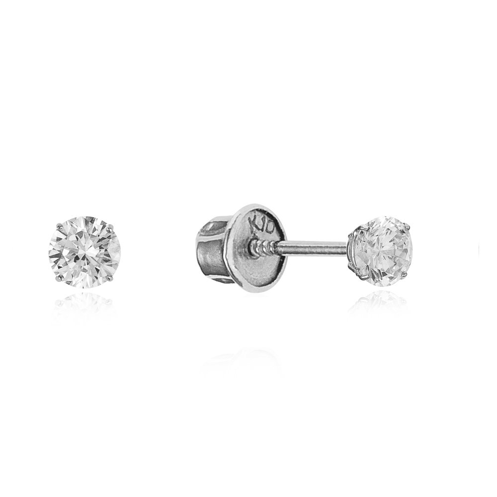 10k White Gold Basket Round CZ Cubic Zirconia Solitaire Children Stud Screwback Baby Girls Earrings Lovearing 10WRC2-04