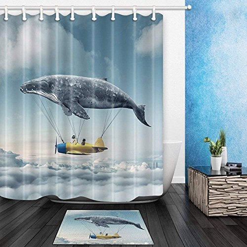 CdHBH Creative Aircraft Decor Whale Hot Air Balloon Carrying Kids in the Sky 71X71in Mildew Resistant Polyester Fabric Shower Curtain Suit With 15.7x23.6in Flannel Non-Slip Floor Doormat Bath Rugs