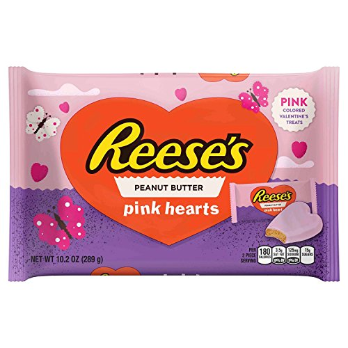 Reeses Peanut Butter Valentines Pink Hearts 10 oz ( Pack of 2 )