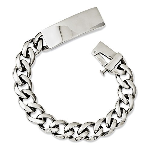 Stainless Steel Polished 13mm Mens ID Link Bracelet 8.5 inches