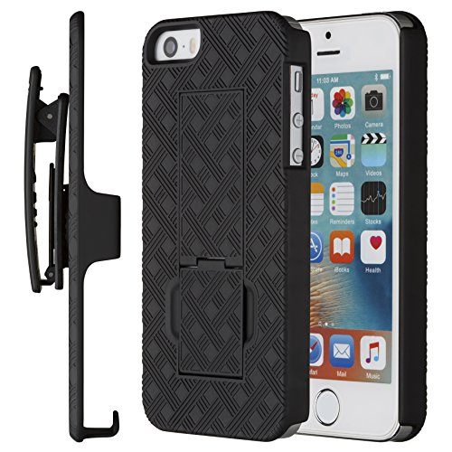 (Moona iPhone SE Case, iPhone 5 5S Case, Shell Holster Combo Case for Apple iPhone SE and iPhone 5 / 5S with Kickstand & Belt Clip 10 Year Warranty - iPhone SE & 5S Thin Holster Belt Clip Case)