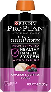 Purina Pro Plan Meal Enhancements for Dogs, Savor Additions Chicken & Berries Puree, 3.2-Ounce Pouch, Pack of 1(14 counts)