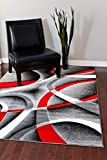 2305 Gray Black Red White Swirls 5'2 x 7'2 Modern Abstract Area Rug Carpet...
