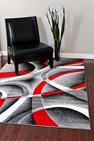 2305 Gray Black Red White Swirls 7'10 x 10'6 Modern Abstract Area Rug Carpet (Area Rugs 8x10 Modern)