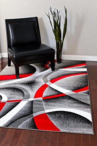 2305 Gray Black Red White Swirls 7'10 x 10'6 Modern Abstract Area Rug Carpet by Persian Area Rugs