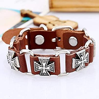 ZUOZUO Leather Wristband Punk Men S Black Bracelet Belt Leather Leather Wristband Retro Cross Glamour Women S Adjustable Bracelet Retro Gothic Estimated Price £18.99 -