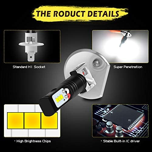 KATUR H1 Led Fog Light Bulb Extremely Bright 1600 Lumens Max 80W High Power CSP Chips 6500K Xenon White Replace for Fog Light or Daytime Running Light DRL 3 Year Warranty
