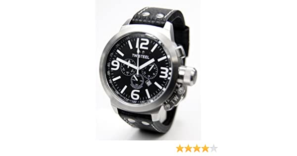 Amazon.com: TW Steel Mens TW4 Canteen Black Leather Black Dial Watch: TW Steel: Watches