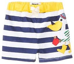 Mud Pie Baby-Boys Newborn Pelican Swim Trunks, Blue/White, 6-9 Months