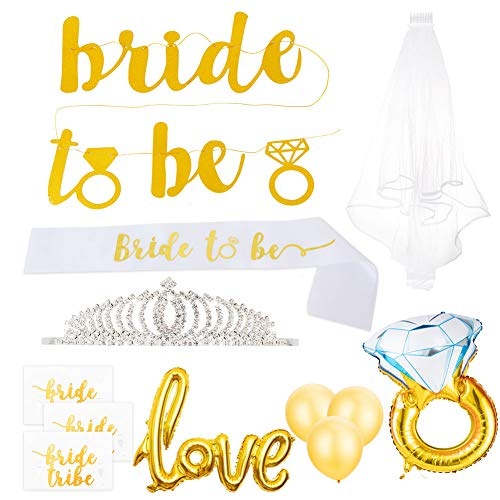Gold Bachelorette Party Decorations Kit, Bridal Shower Decorations Supplies - Bride to Be Banner, Bride Sash, Tiara, Ring Foil, Veil, Bride Tattoos, Love + Latex Balloon