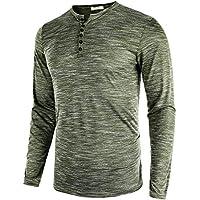 DAIKEN Men's Casual Slim Fit Long-Sleeve Henley T-Shirt Lightweight Basic Top