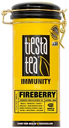 Tiesta Tea Fireberry, Cranberry Hibiscus Rooibos Tea, 50 Servings, 5 Ounce Tin, Caffeine Free, Loose Leaf Herbal Tea Immunity Blend, Non-GMO