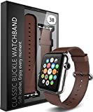 Apple Watch Strap Band - E LV Apple Watch 38MM - (100% GENUINE LEATHER) Strap Band High Quality Premium Strap Band Accessories for Apple Watch 38MM with [ADAPTER] to install - BROWN ...